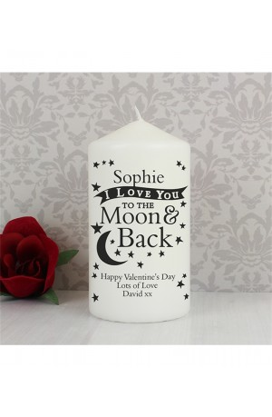 Love You TO THE Moon & Back Personalised Candle