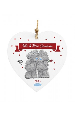 Me to You Couples Personalised Wooden Heart Decoration
