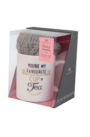 Grey Knitted Socks & Mug Set