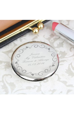 Ornate Swirl Compact Mirror with Personalisation