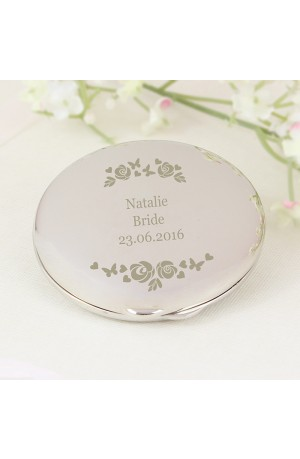 Pretty Vintage Rose Personalised Compact Mirror