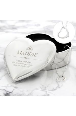 Personalised Elegant Crown Trinket Box & Necklace
