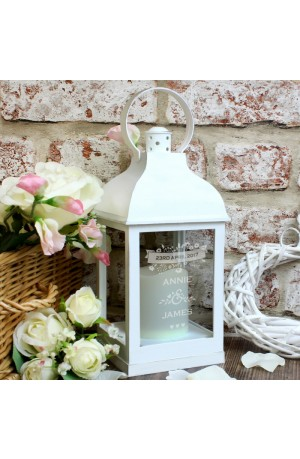 Personalised White Floral Couple's Lantern