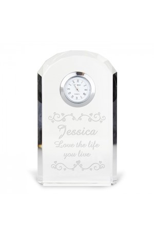 Personalised Heart Swirl Crystal Clock