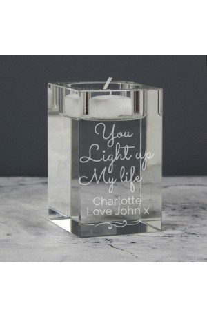 You Light Up My Life Personalised Glass Tea Light Holder