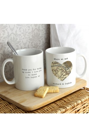 Personalised Map Heart Mug