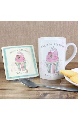 Vintage Cupcake Mug and Coaster Set