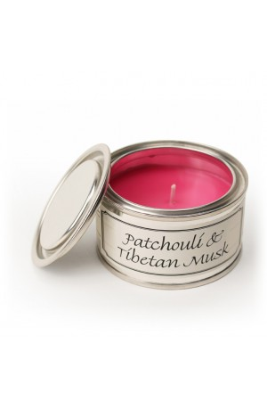 With Love Candle in Tin -- Patchouli and Tibetan