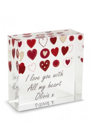 Personalised Fabric Hearts Crystal Love Token