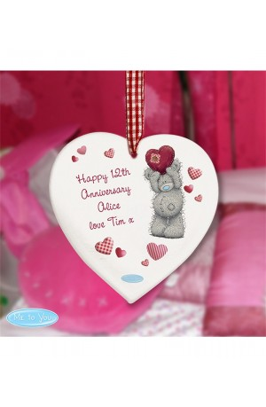 Personalised Me To You Wooden Heart Decoration
