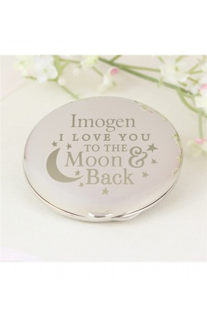 Personalised Moon & Back Compact Mirror