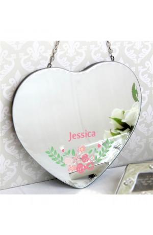 Personalised Vintage Floral Heart Mirror