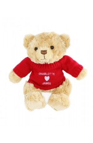 Personalised Snuggle Bear with a Love Heart Jumper