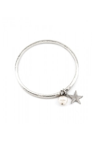 Pewter Hammered Bangle with Starfish & Freshwater Pearl by Luna London