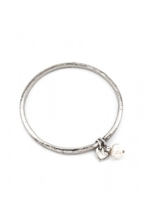 Pewtered Hammered Bangle with Heart & Freshwater Pearl Droplet by Luna London