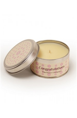 Congratulations Fragranced Candle Tin - Elderflower Champagne