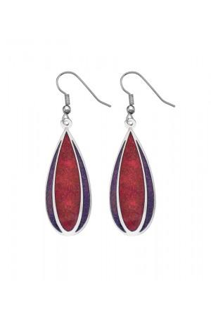 Red Textured Flower Earrings