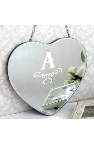 Vintage Heart Mirror with your Personalised Initial